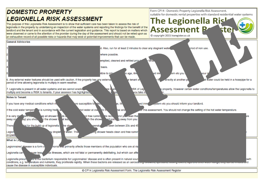Legionella risk assessment template the legionella risk legionella risk assessment template pronofoot35fo Choice Image